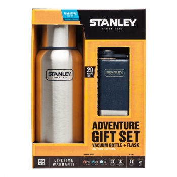 Stanley Adventure Gift Set, Vaccum Bottle, 18/8 Stahl, navyblaue Adventure Flask